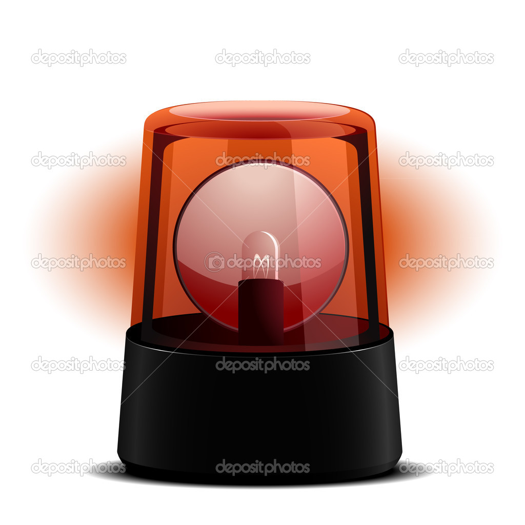 Detailed illustration of a red flashing light, symbol for alert and emergency — Stock Vector #6399926