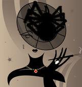 女性とキャップ クモ — ストックベクタ