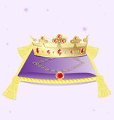 Pillow and golden crown with a necklace — Stock Vector