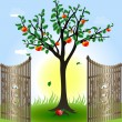 Apple tree and gates — Stock Vector