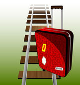 Suitcase on the rails — Stock Vector