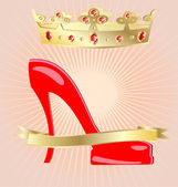 Crown and shoe — Stock Vector