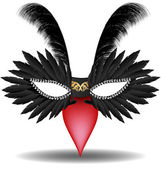 Black halfmask with feathers — Stock Vector