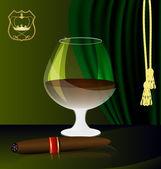 Cognac and cigar — Stock Vector