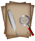 Old paper, white feather and magnifer — Stockvector