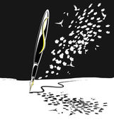 抽象的なブラック ホワイト書くペン — ストックベクタ