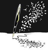 Penna scrivente astratto di bianco e nero — Vettoriale Stock