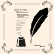 Stock Vector: Vintage pen and ink