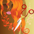 Red hair and scissors — Stock Vector