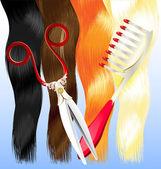 Comb and scissors — Stock Vector
