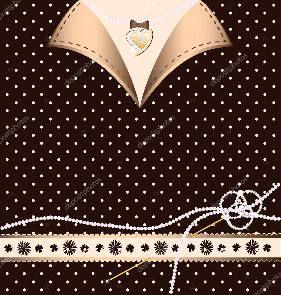 Background: brown-beige variation with a golden pin and pearl  Stock Vector #6654461