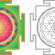 Vector Shri  Yantra (or Sri Yantra) for Meditation .  Color and — Stock Vector