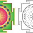 Stock Vector: Vector Shri Yantr(or Sri Yantra) for Meditation . Color and