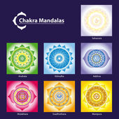 Vector Chakra Symbol Mandalas for Meditation to Facilitate Grow — Stock Vector