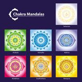 Vector símbolo chakra mandalas para meditar y facilitar el crecimiento — Vector de stock