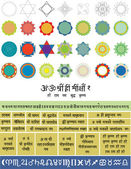 Vector set for yantras: figures and mantras — Stock Vector
