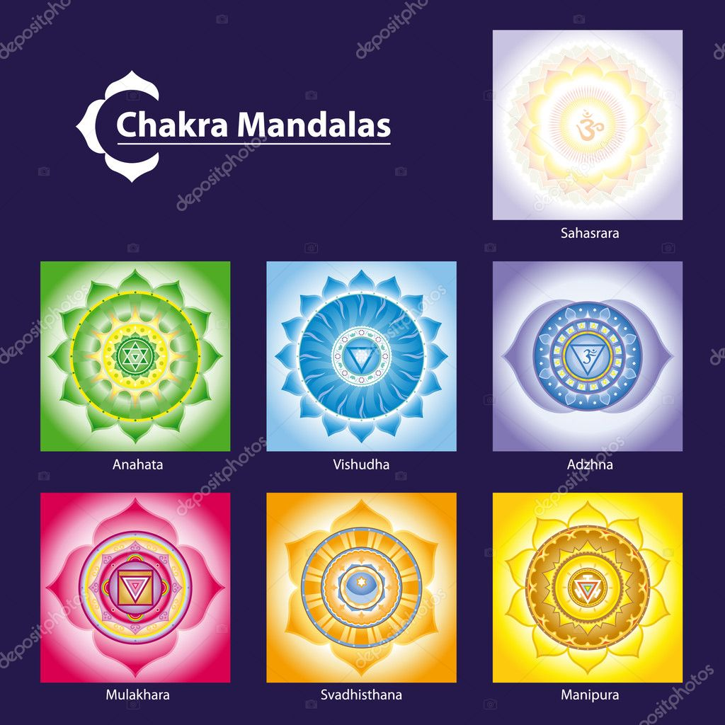 Vector Chakra Symbol Mandalas for Meditation  to Facilitate Growth and Healing  Imagen vectorial #5989858