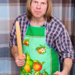 Royalty-Free Stock Photo: Man threatening with stick and cucumber