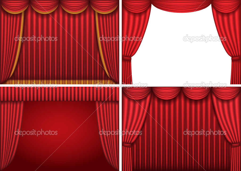 Four backgrounds with red theater curtains. Vector illustration. — Stock Vector #5598546