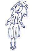 Cartoon vector silhouette of a girl — Stock Vector