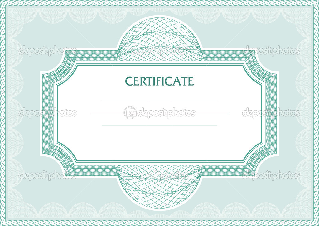 Horizontal guilloche vector frame for diploma or certificate  Stock Vector #6233443
