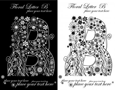 Two black and white letters of vintage floral alphabet, B