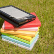 Stock Photo: Ebook reader with stack of books