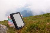 Stapel van kleurrijke boeken en elektronische boek lezer op het gras — Stockfoto