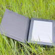 Electronic book reader laying on grass — Stock Photo #5898734
