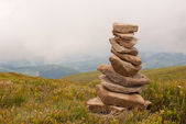 Stack of stones laying in the mountains — Stock Photo