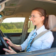 Young lady driving a car — Stock Photo #6312162