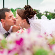 Happy bride and groom — Stockfoto