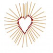 Matchsticks in a row shows a heart-shape — Stock Photo