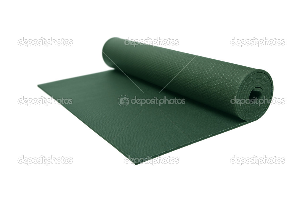 Rolled Green Yoga Mat Isolated on White with a Clipping Path.  Stock Photo #5658074