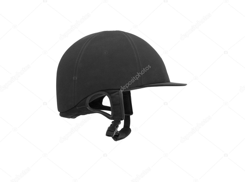 Black ridding cap for horse riders isolated on white — Stock Photo #5658101