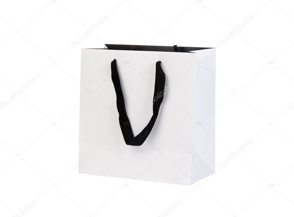 White beamless paper-bag with cords on white  Stock Photo #5751018