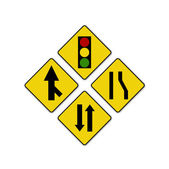Set of variants Sharp traffic road sign isolated — Stock Photo
