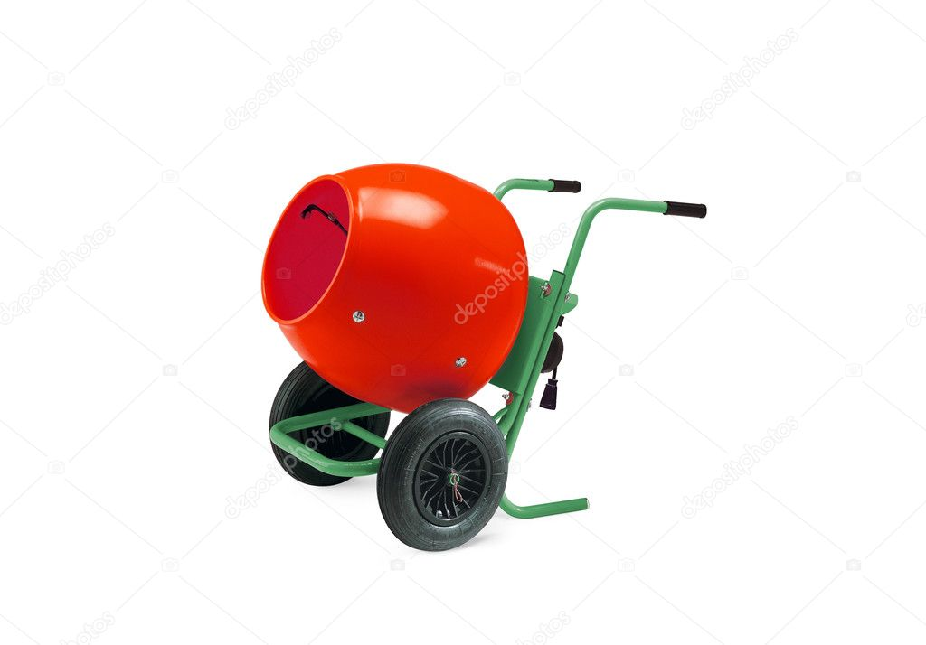 Concrete mixer isolated with clipping path on white  Stock Photo #5873144