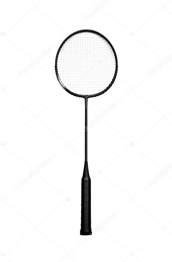 Badminton racket on a white background. Studio isolated.  Stock Photo #5910207