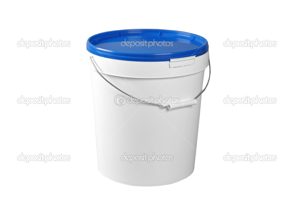 Closed white plastic container isolated on white  Stock Photo #5910281