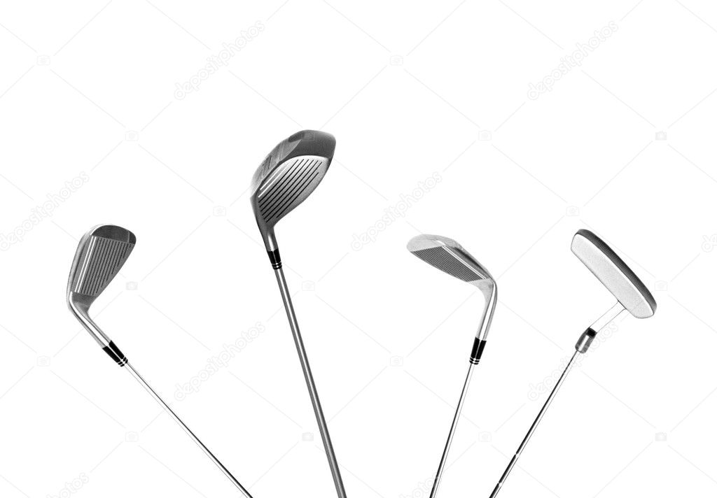 Four different type of golf clubs, isolated — Stock Photo #5910303