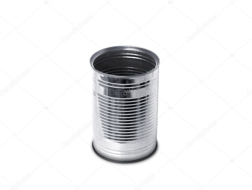 Empty open tin can without label isolated on white.  Stock Photo #6011318