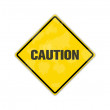 Yellow caution traffic sign with copyspace for text message — Foto Stock