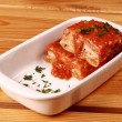 Lasagna on dish - Foto Stock