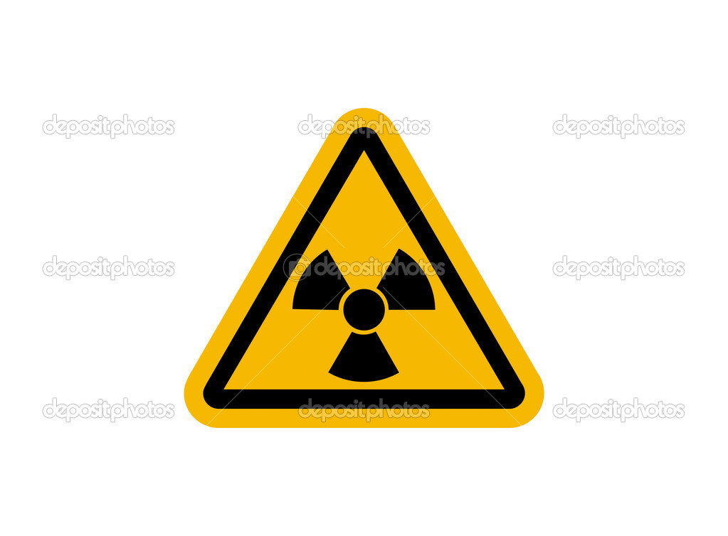 Radiation sign with glossy yellow surface isolated — Stock Photo #6406998
