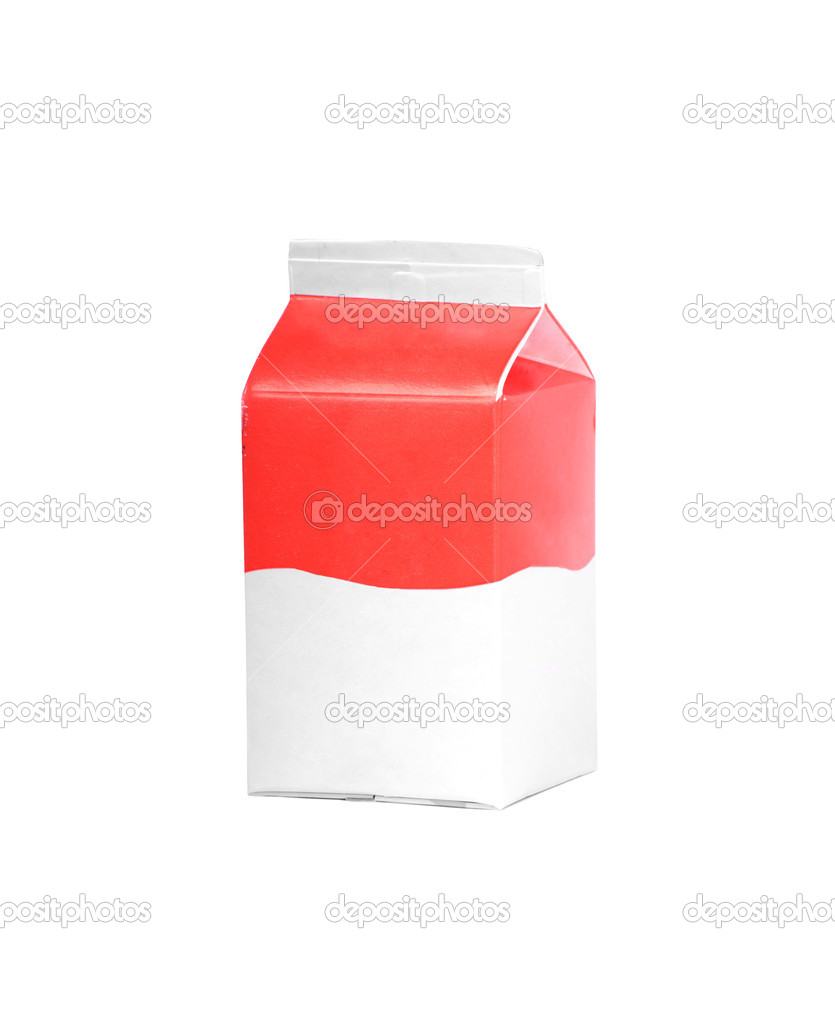 Milk or juice carton box isolated on a white background. — ストック写真 #6407690