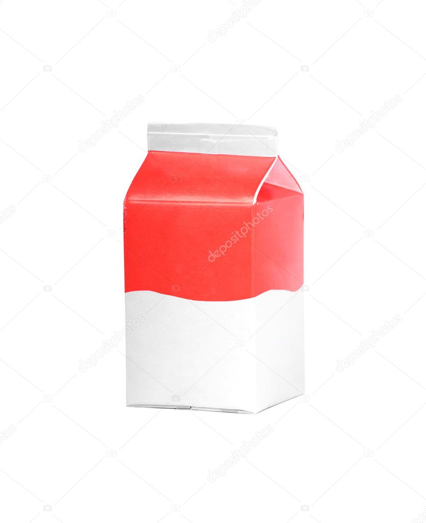 Milk or juice carton box isolated on a white background. — Foto de Stock   #6407690