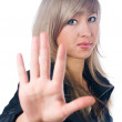 Girl with stop gesture — Stock Photo