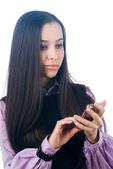Cep telefonu ile kız — Stok fotoğraf