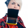 Young woman with paintbrush — Stock Photo
